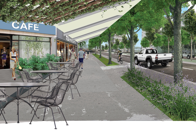 Barneson Boulevard - Scene 2 - Artist impression - cafe, shops, cycle path