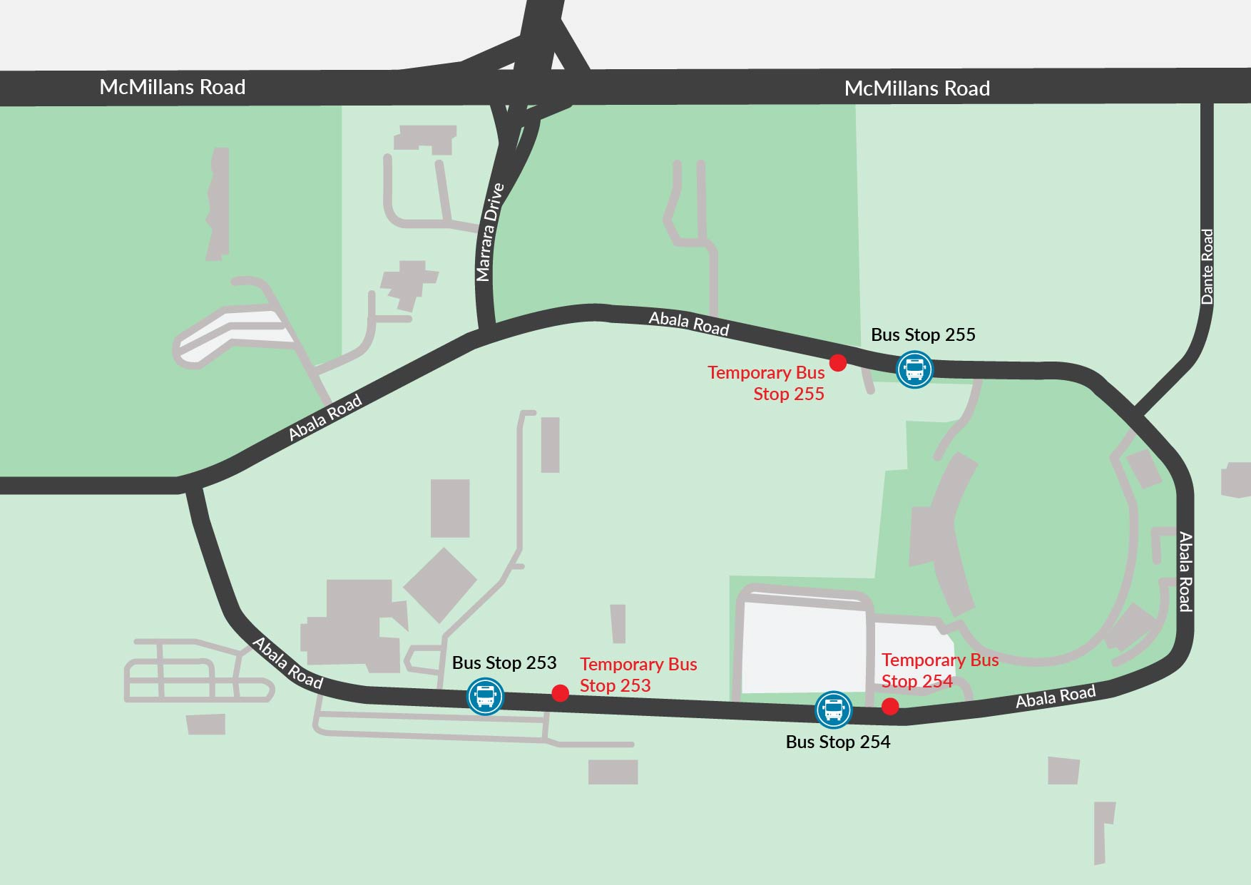 Map of Abala Road and bus stop upgrades
