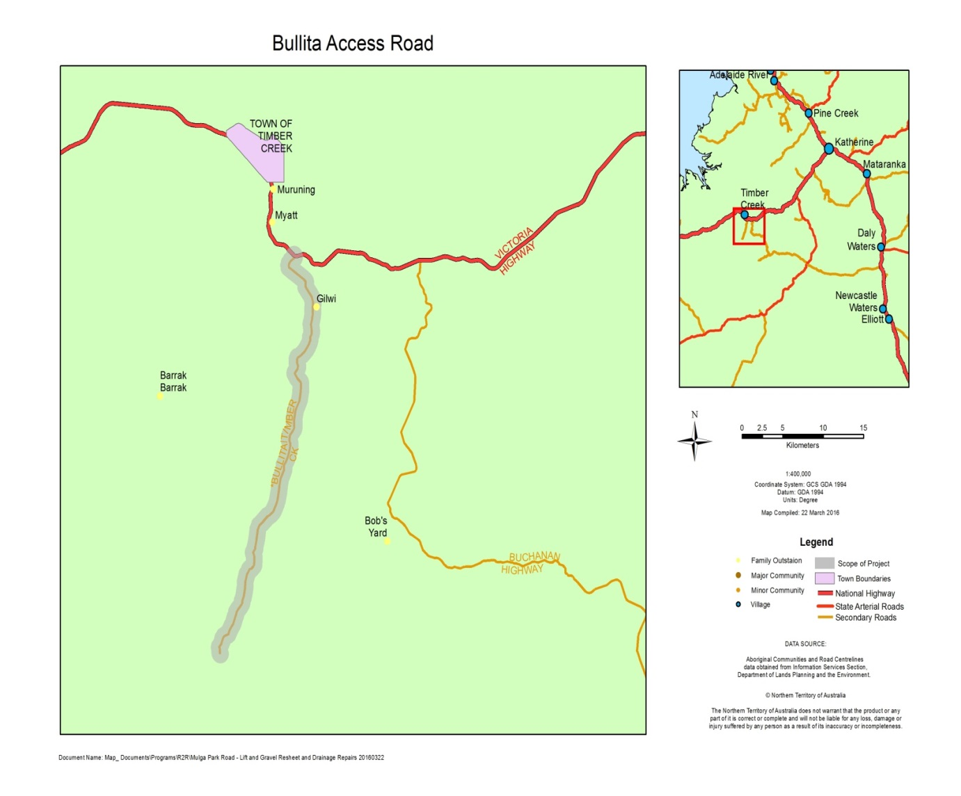 Upgrades to Bullita Access Road