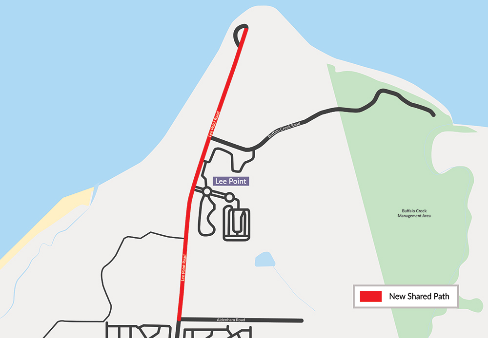 Map of Lee Point Road Shared Path