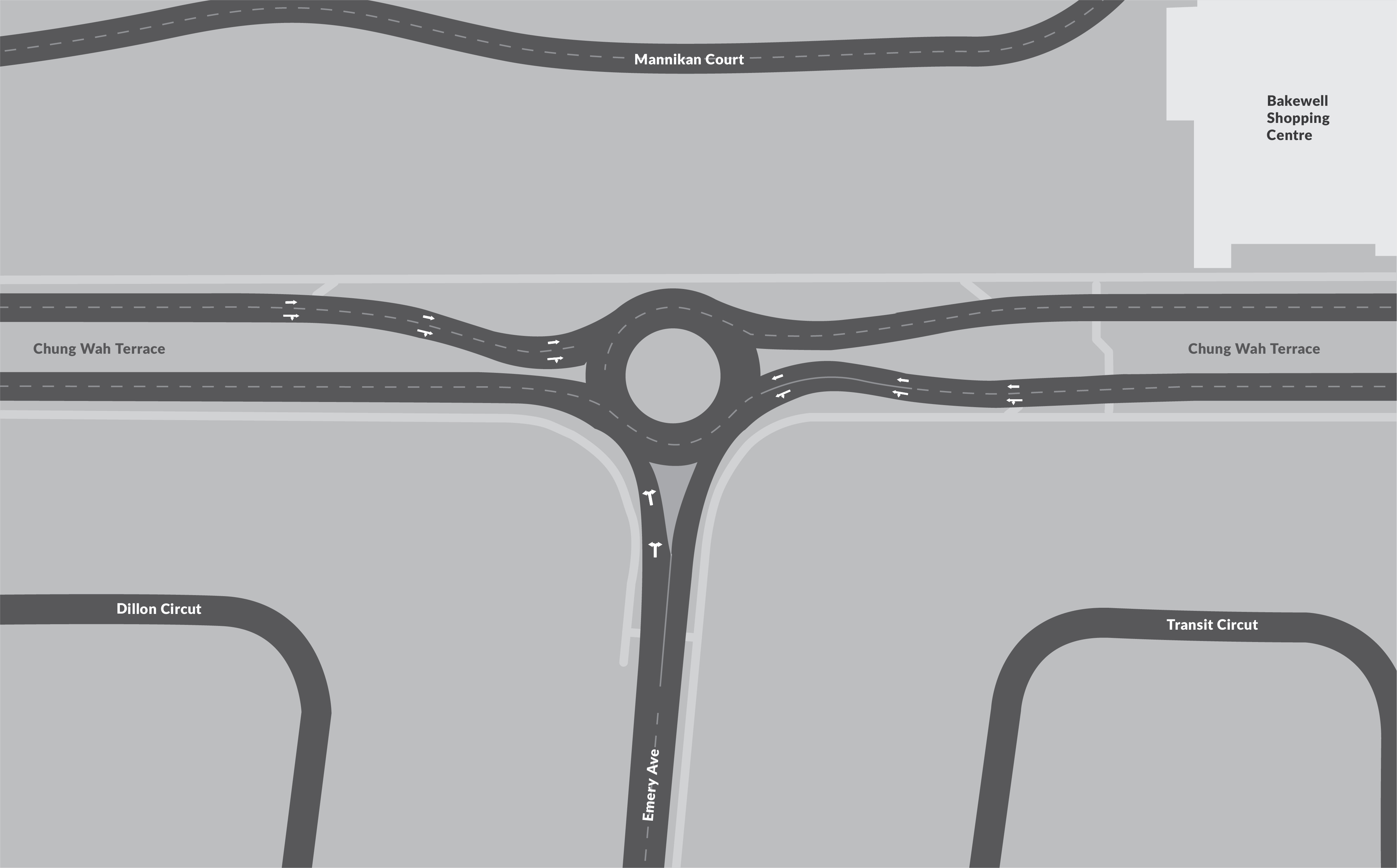 Proposed roundabout design for the intersection of Chung Wah Terrace and Emery Avenue.