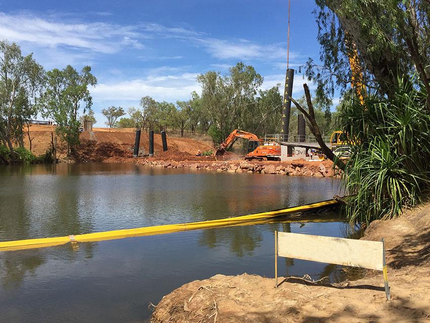 Wilton River crossing construction